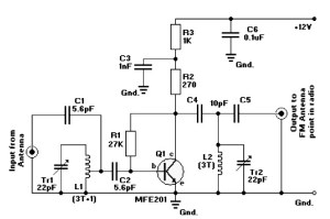 FM radio antena amplifier