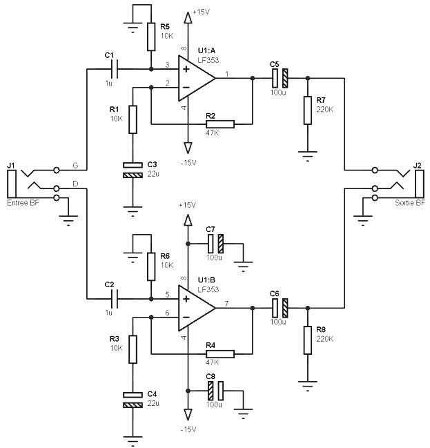 asymetric pre amp scheme for single or dual power supply amplifier