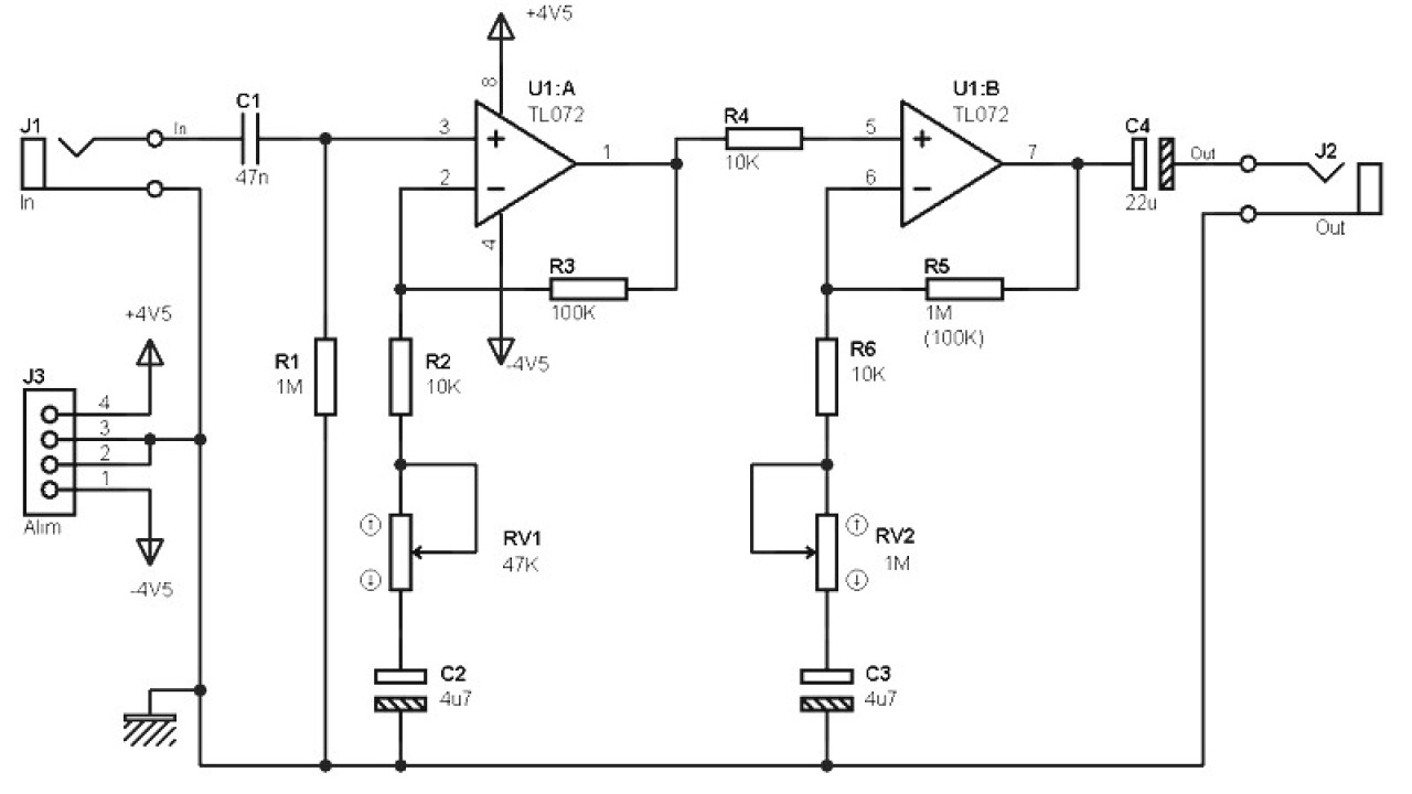 Low Cost Pre-amplifier Circuit based TL072 - Amplifier Circuit Design