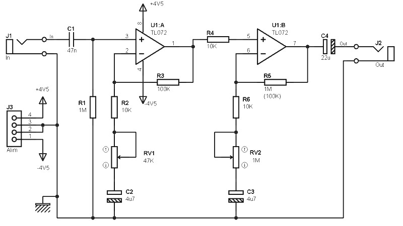 asymetric pre amp scheme for single or dual power supply amplifierlow cost pre amplifier circuit based tl072