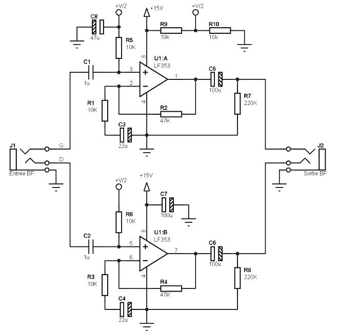 asymmetric pre amplifier circuit amplifier circuit designpre amp single supply this asymmetric