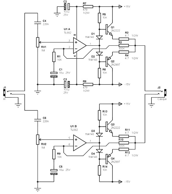 low power amplifier 2x100 mw with tl082 amplifier circuit design rh amplifiercircuit net TL082 Preamplifier Circuits Basic Circuit Diagram