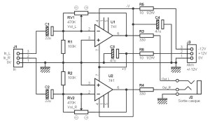 Stereo headphone amplifier