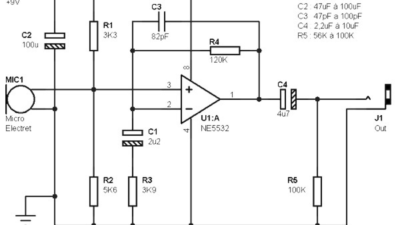 5532 ic mic preamplifire circuit electret microphone pre amp based ne5532 amplifier circuit design  electret microphone pre amp based