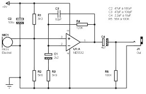 Electret Microphone Pre-amp based NE5532 - Amplifier Circuit