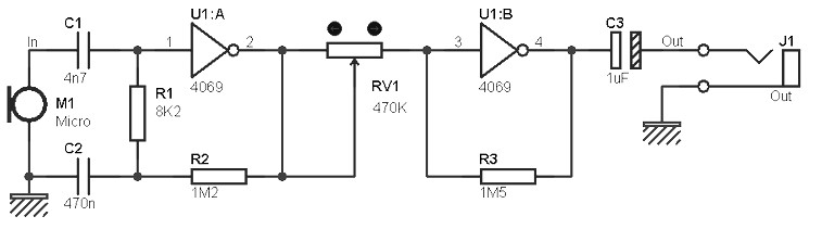 Mono preamp based on CMOS IC
