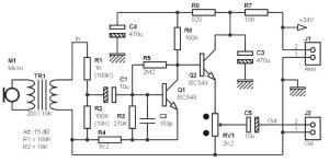 Mono Preamp with Small Transformer and Two Transistors ... on transistor phaser schematic, transistor tremolo schematic, transistor amplifier schematic, transistor amp schematic, transistor design, transistor flanger schematic, transistor switch schematic, transistor radio schematic,
