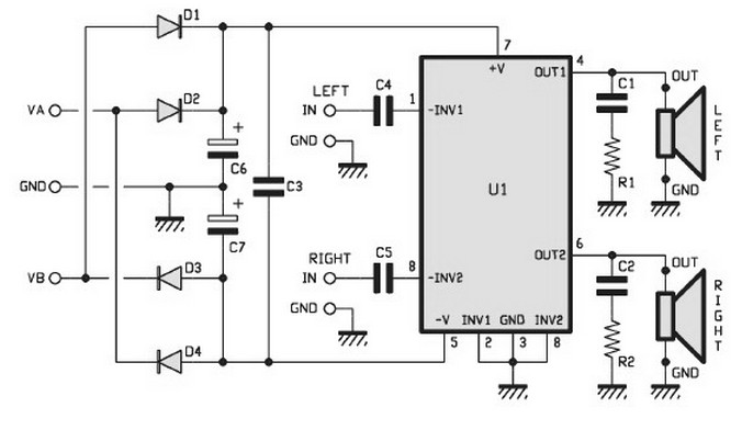 30w stereo amplifier circuit
