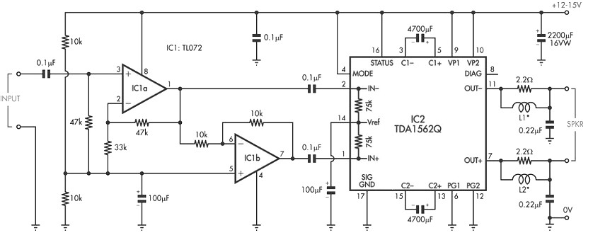 car stereo amplifier based tda1535 amplifier circuit design36 watt audio power amplifier based on tda1562q