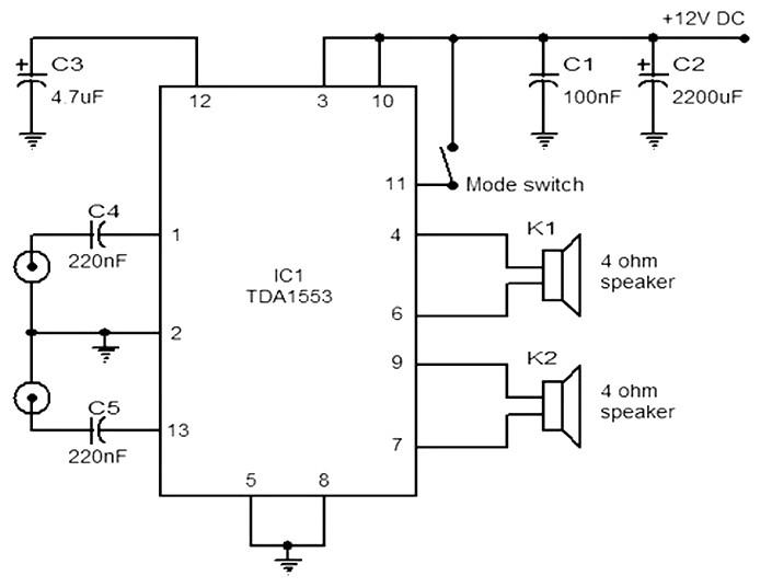 Car audio amplifier based TDA1553