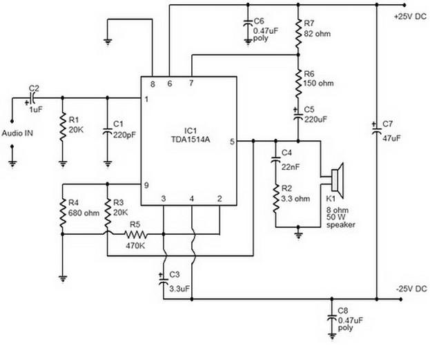 50w Hi Fi Audio Amplifier Using Tda1514 Electronic Schematic Circuit