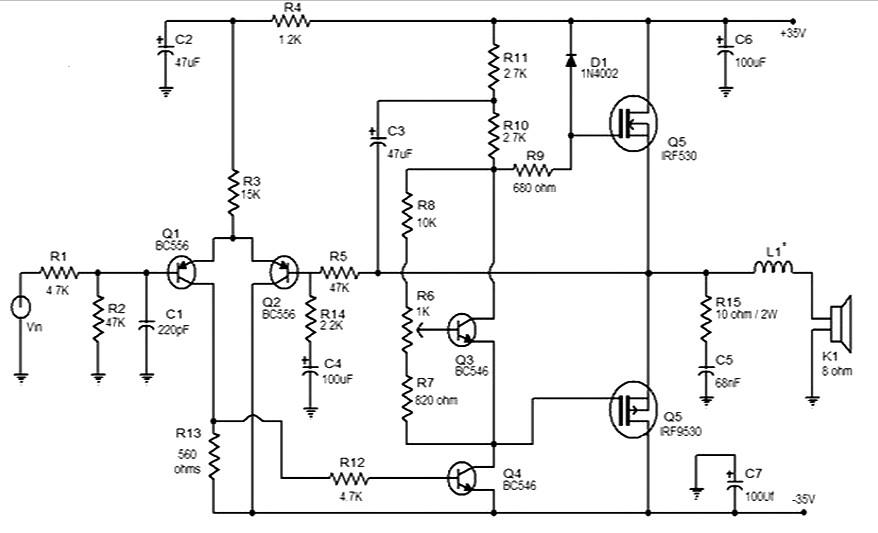 50 watt Mosfet amplifier - Amplifier Circuit Design