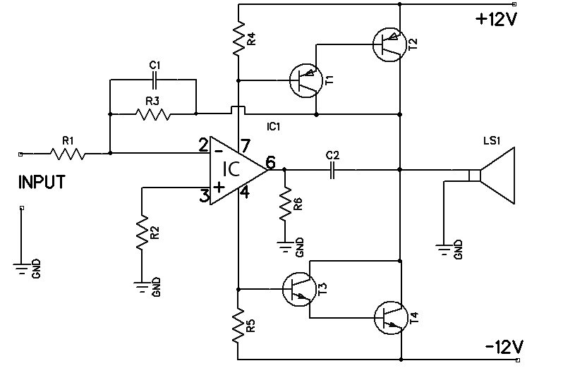 12w amplifier circuit based 741 op amp amplifier circuit design12w amplifier based 741