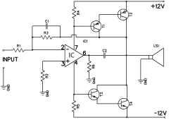 12W amplifier circuit based 741 Op Amp