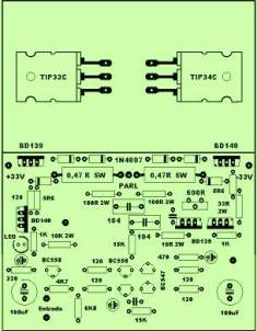 40W Power Amplifier Component Placement