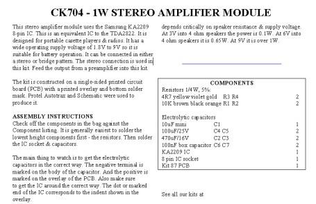 1W Stereo Amplifier Module