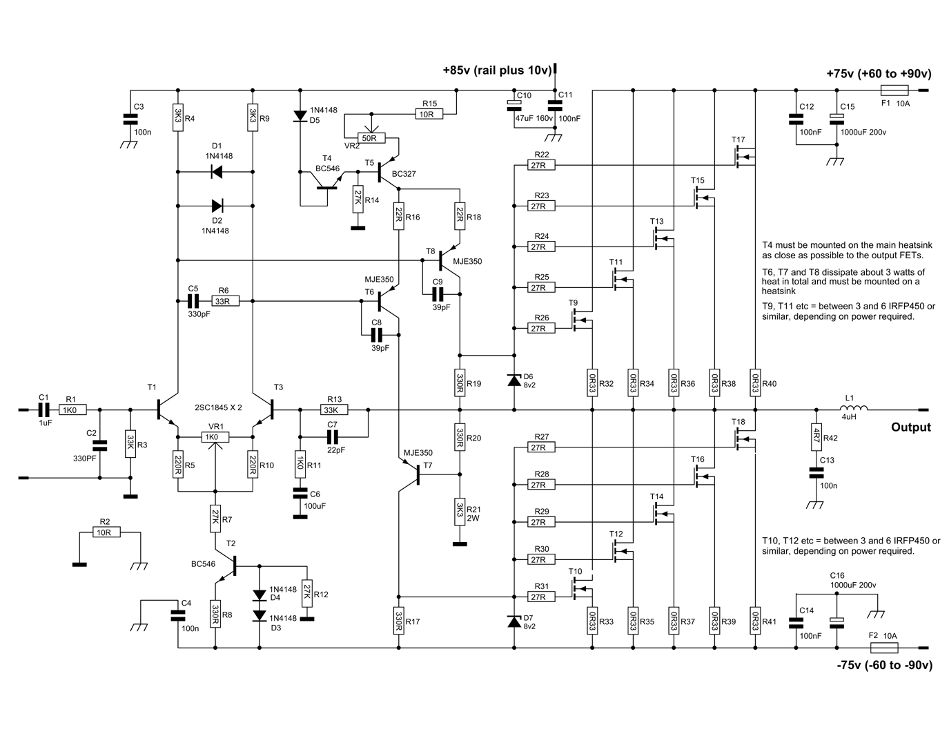 600W MOSFET Power Amplifier - Amplifier Circuit Design