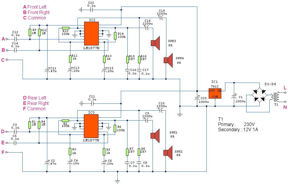 4 Channel Amplifier with IC LM1877N  Amplifier Circuit Design