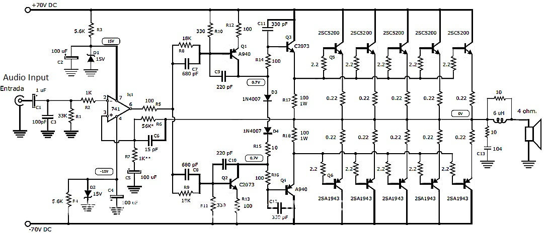 400 Watt 70 Volt Amplifier Schematic & PCB Layout Design