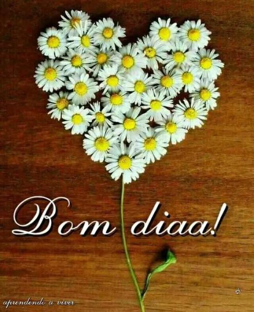 Bom dia coração de flores