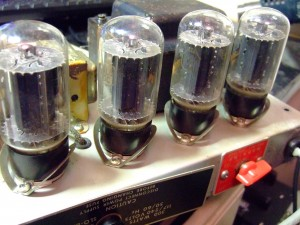 original 74 RCA valves with side getters, clear glass tops