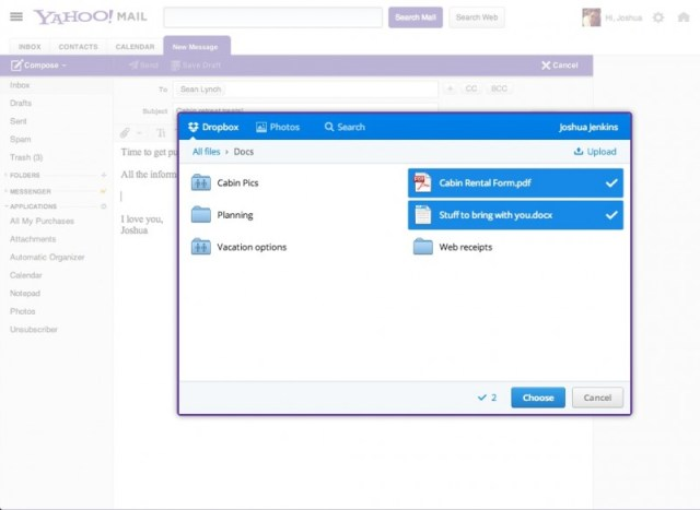 Yahoo! Mail + Dropbox