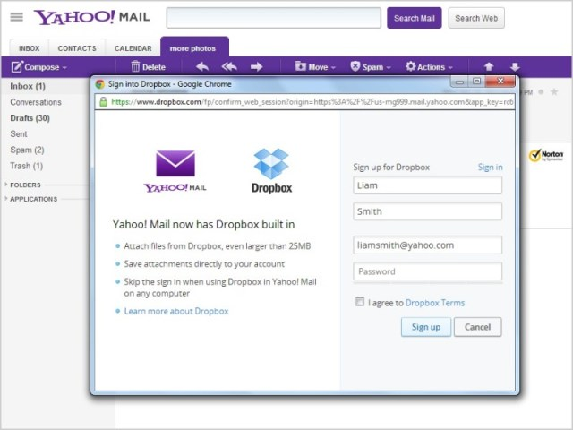 Yahoo! Mail + Dropbox