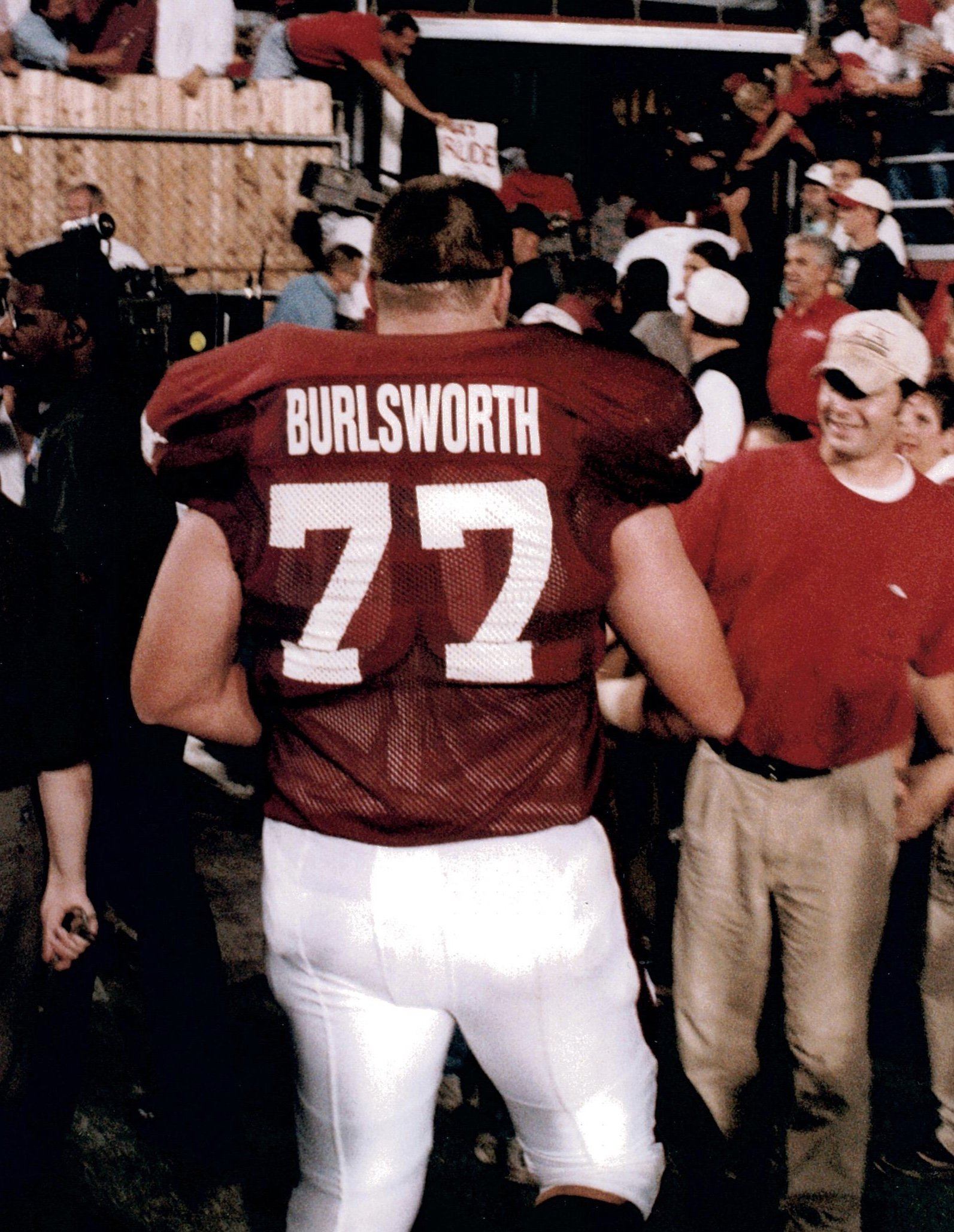Brandon Burlsworth leaves the field at War Memorial Stadium in Little Rock in the 1998 season. (Photo by Brandon's brother, Marty)