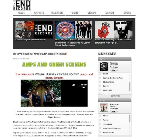 The END Records |  The Mission's Wayne Hussey catches up with Amps and Green Screens