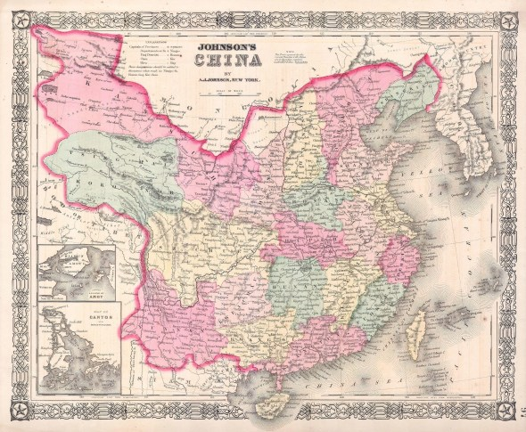 "This is A. J. Johnson's 1865 map of China. Covers the region with particular attention to cities and waterways. China at the time this map was made was mostly closed country, however, a few ports were opened to western trade, these are noted in capital letters and include Tanchau, Kaifung, Waingan, Shanghai, Canton and Nanking (Nanjing) among others. Insets detail the ""Island of Amoy"" and Canton (Hong Kong). Features the Celtic style border common to Johnson's atlas work from 1863 to 1869. Steel plate engraving prepared by A. J. Johnson for publication as plate no. 97 in the 1865 edition of his New Illustrated Atlas… This is the first edition of the Johnson's Atlas to exclusively bear the A. J. Johnson imprint."