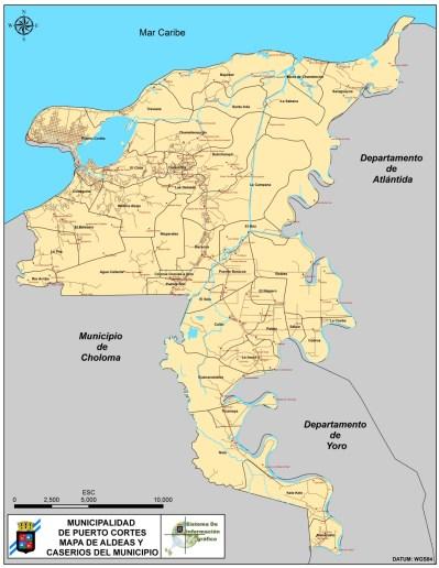 aldeas y caserios de puerto cortes con red vial