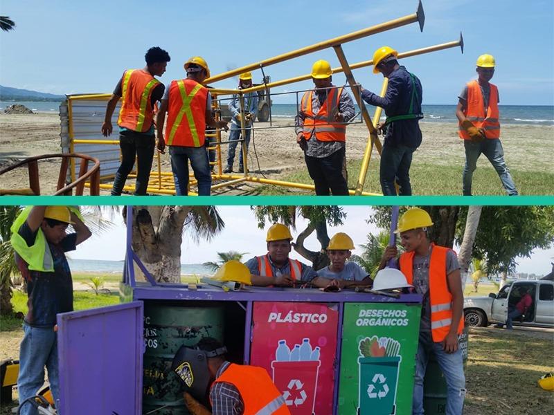 Realizamos mantenimiento de estructuras metálicas y basureros en la Playa Municipal.