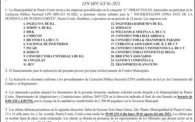 "Aviso de Licitación Pública Nacional, "" PAVIMENTACIÓN ZONA ESTE DE LA PENÍNSULA DE PUERTO CORTÉS"""