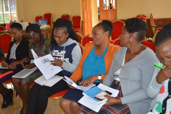 Workshop participants giving their views on various aspects of mental health