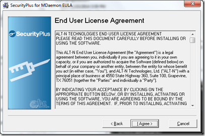 Setting up Securityplus 4.5.0 for Mdaemon (3/6)
