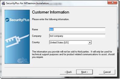 Setting up Securityplus 4.5.0 for Mdaemon (4/6)