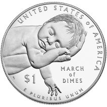 """March of Dimes"" Commemorative Dollar, 2016, United States Mint"