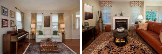 Transitional Global styled rooms with stationary panels, silhouettes, and custom cornice boards.