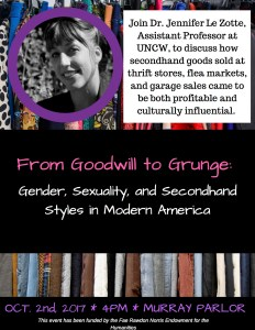 "Jennifer LeZotte, ""From Goodwill To Grunge"" @ S Murray Hall, Parlor"