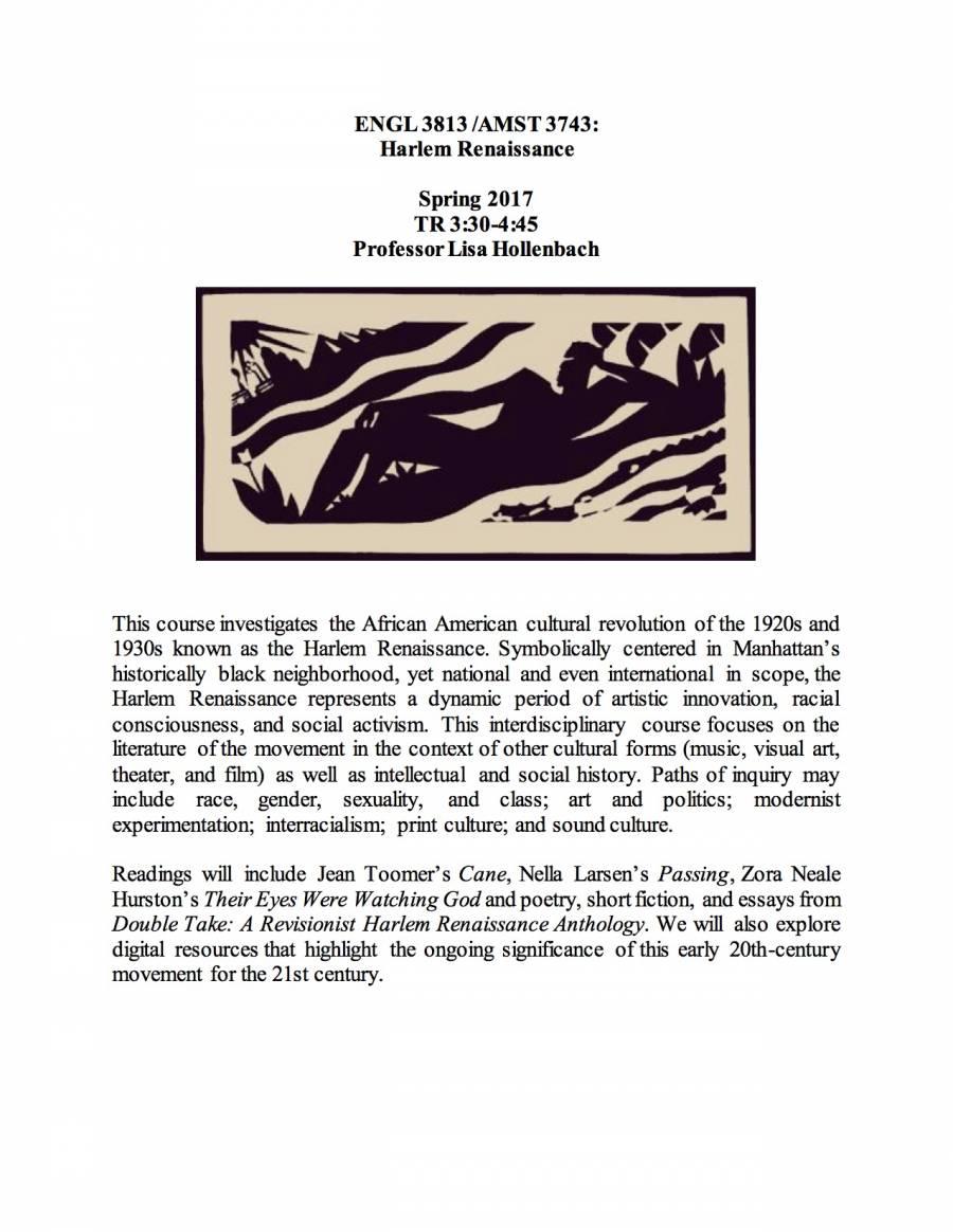 AMST3743-ENGL3813 Harlem Renaissance