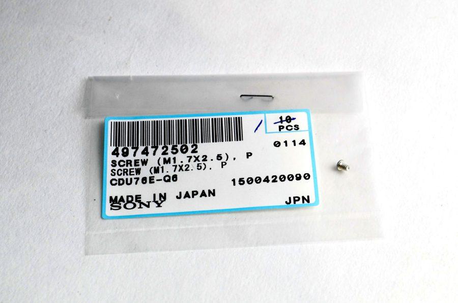 497472502 vis SONY screw CDU76E-Q6 (M1.7X2.5) - 1seule vis à l'intérieur