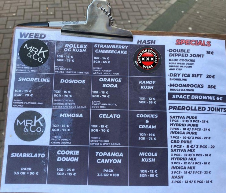 Coffeeshop MrK and Co menu