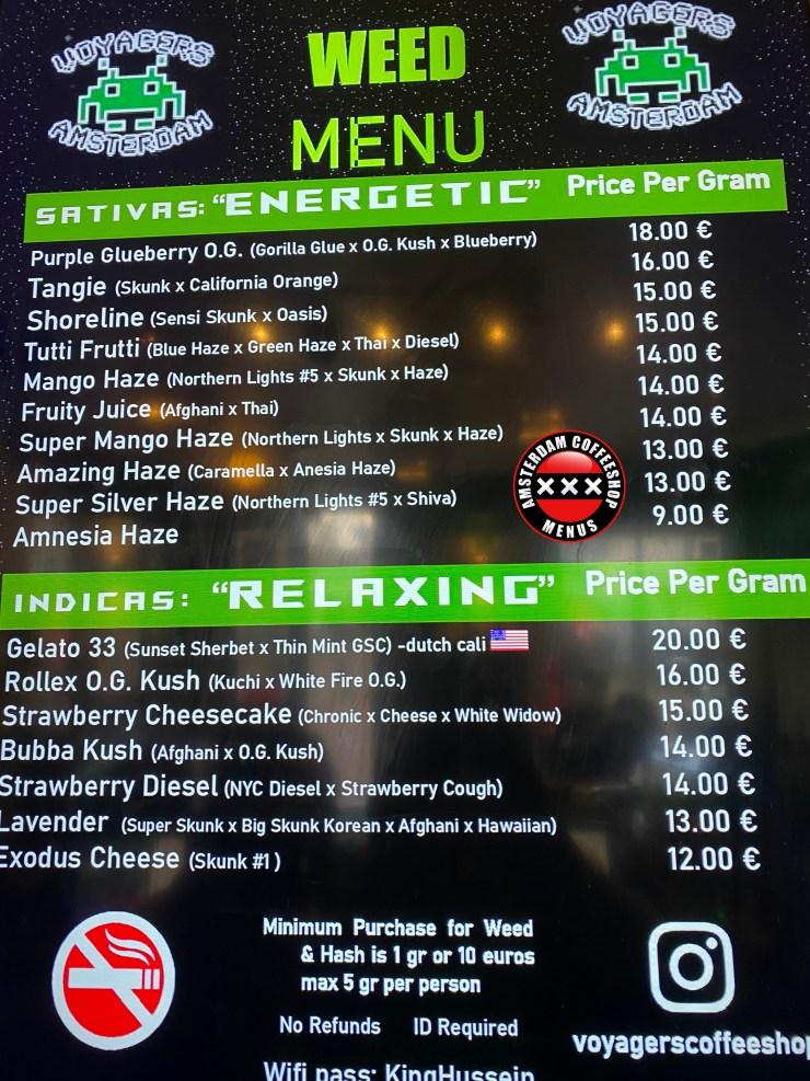Coffeeshop Voyagers menu