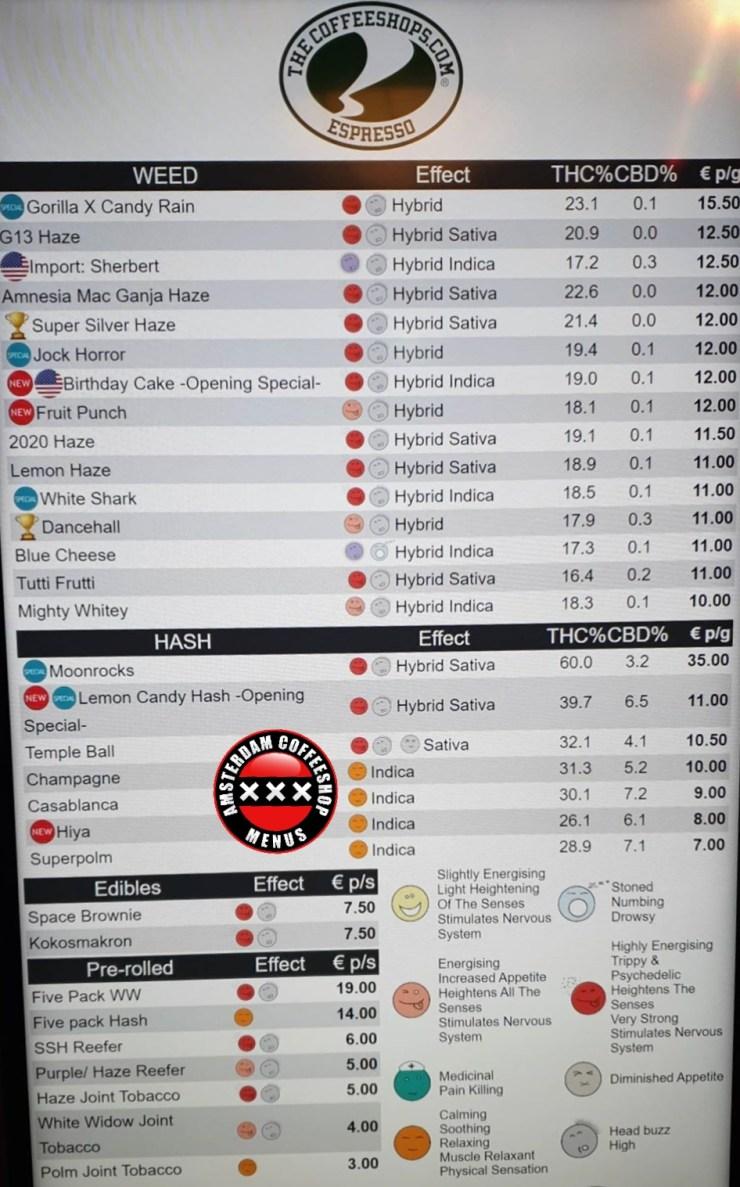 Coffeeshop Espresso menu