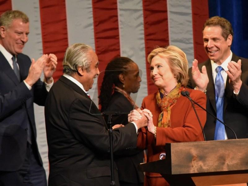 (L-R) Mayor Bill de Blasio, Congressman Charles Rangel, Former NY Senator and former Secretary of State Hillary Clinton, Governor Andrew Cuomo, (188396)