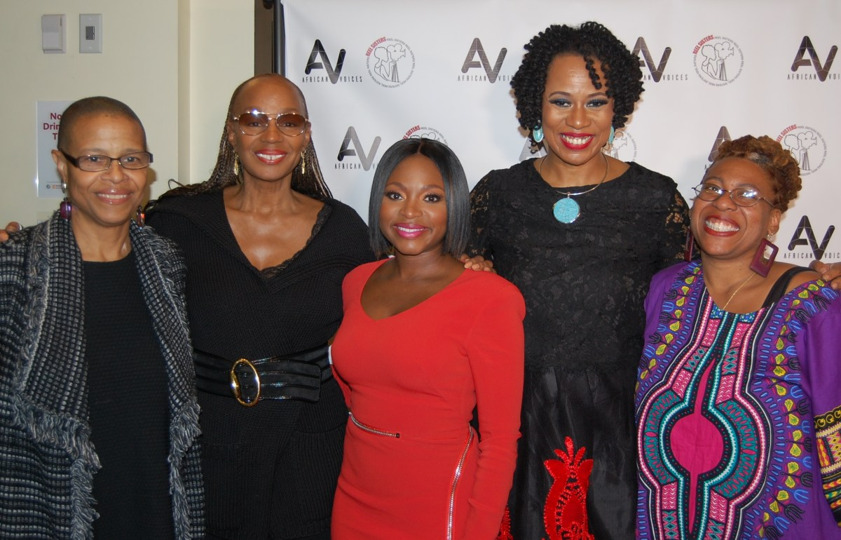 ReelSisters Trailblazer honoree, actress Naturi Naughton (center), joined (l to r) author/publicist Terrie Williams, former Essence magazine Editor-in-Chief Susan Taylor,ReelSisters Film Curator Lisa Durden andReelSisters Founder Carolyn A. Butts at an awards ceremony held at the Schomburg Center Oct. 14. The film festival kicked off in Harlem with an event honoring media pioneer Cathy Hughes and award-winning actress Naturi Naughton. The festival will be heldOct. 22-23in Brooklyn at LIU (DeKalb and Flatbush avenues.) (222100)