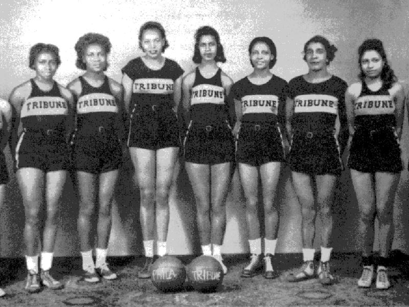 The Tribune Girls basketball team, circa the 1930s. Ora Washington is third from the right. (304766)