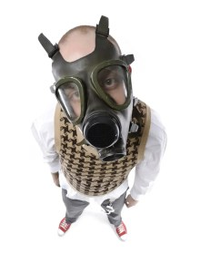 dutch friend in gas mask