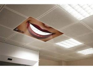 Advertising Creative dental care ad on ceiling