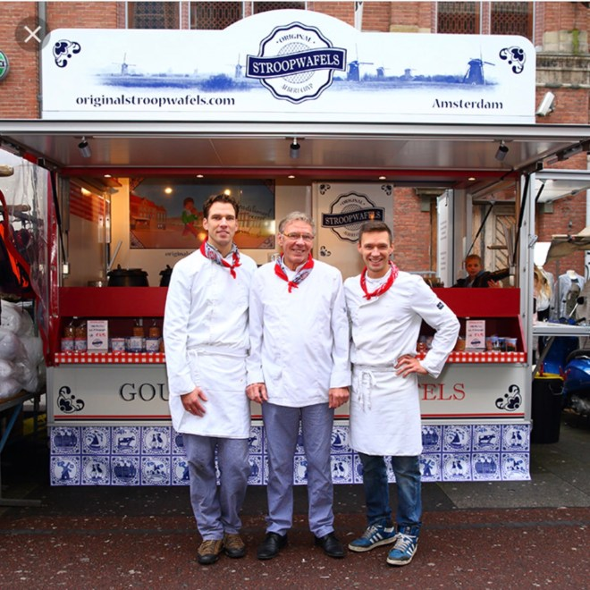 bakers in front of the stroopwafel truck at the Albert Cuyp market - the best stroopwafels in Amsterdam